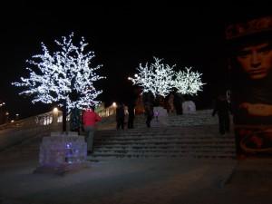 Освещение лестниц - ледовый городок Новосибирска 2015
