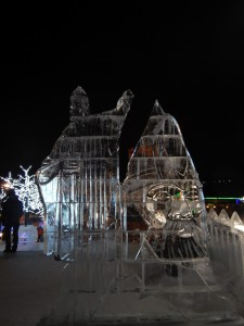 Скульптура из льда. Ледовый городок, Новосибирск 2015.
