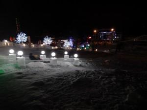 Ледяная горка. Ледовый городок Новосибирска 2015.